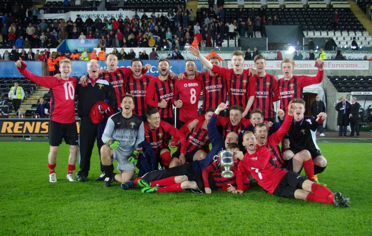 Goodwick celebrate their West Wales Cup win at the Liberty Stadium in the 2015/16 season. PICTURE: Western Telegraph.