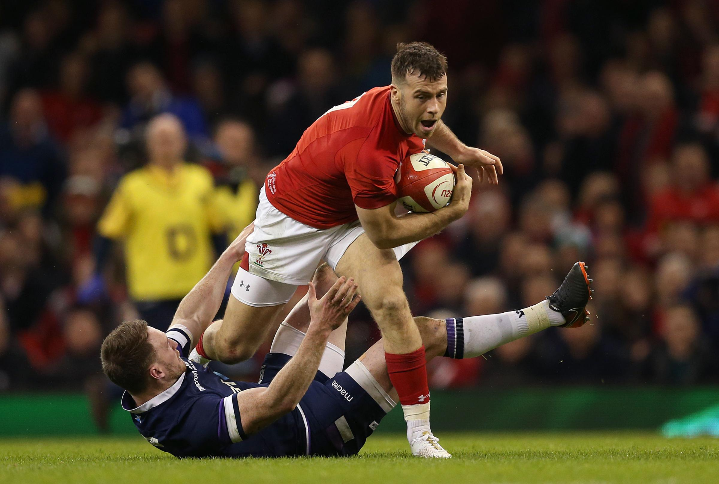Gareth Davies breaks for Wales in the win over Scotland. PICTURE: PA Wire.