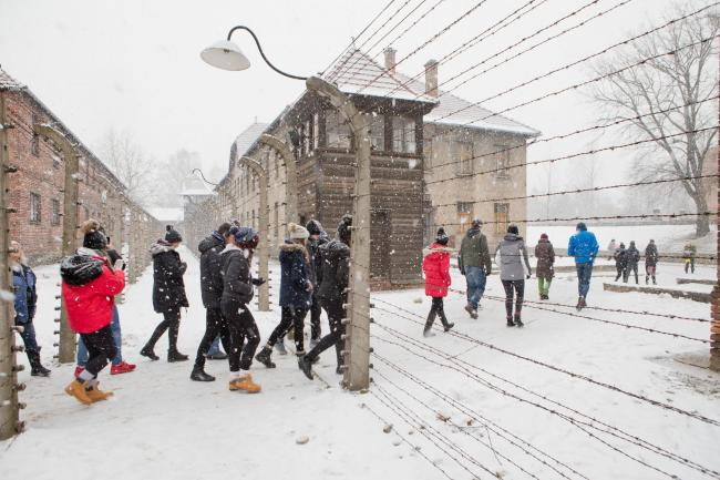 Students at the bleak foreboding Auschwitz. PICTURE: Justin Grainge.