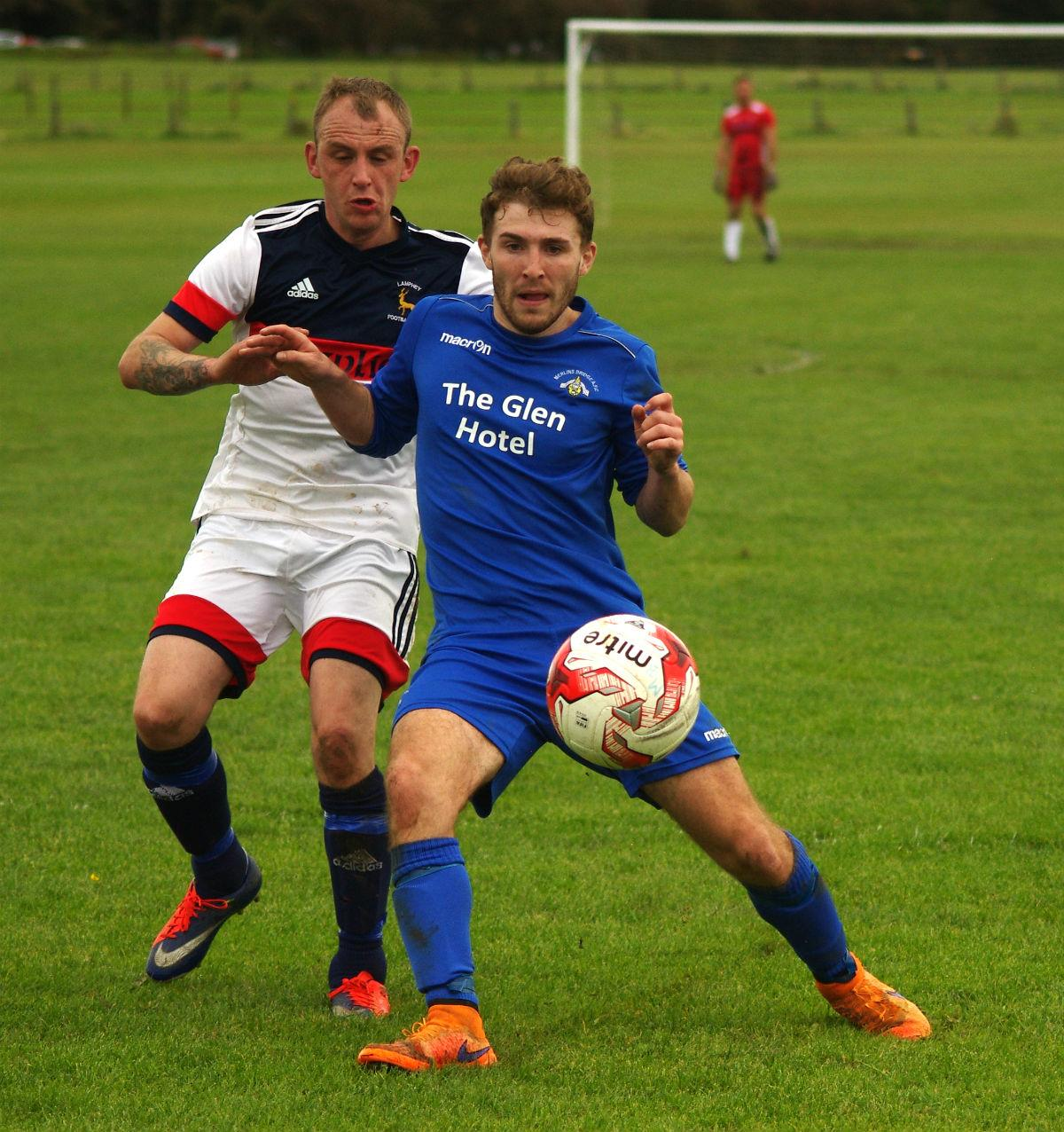 Merlins Bridge host Bwlch Rangers in the West Wales Cup. PICTURE: Western Telegraph.