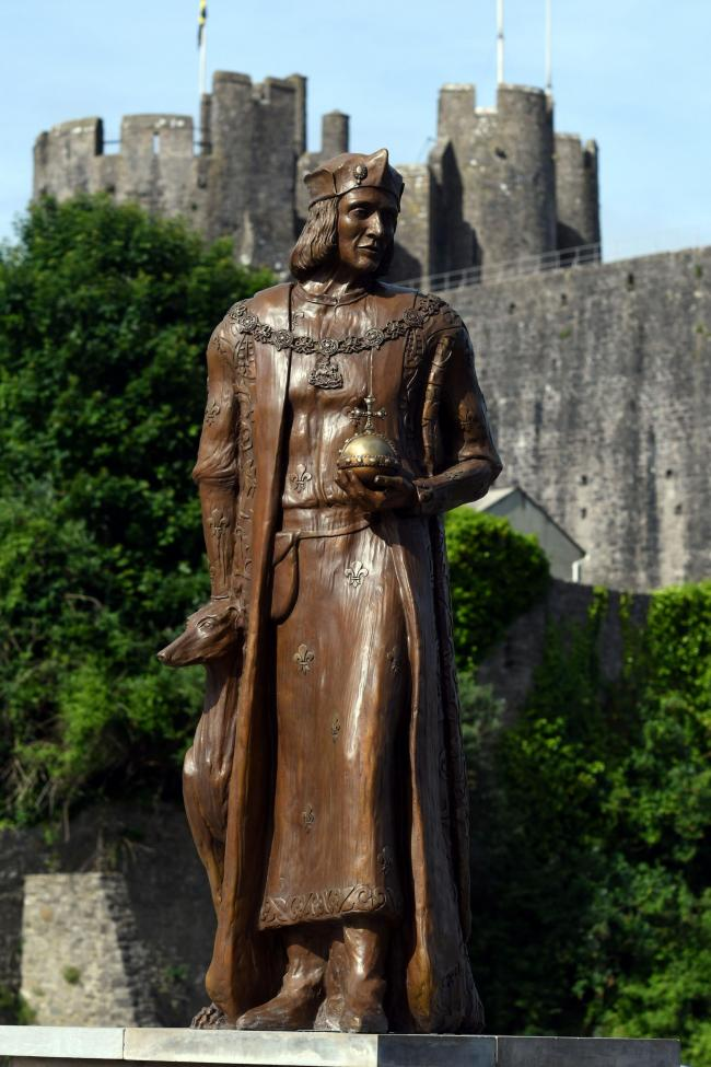 The Henry VII statue, with pride of place in front of Pembroke Castle. PICTURE: Martin cavaney.