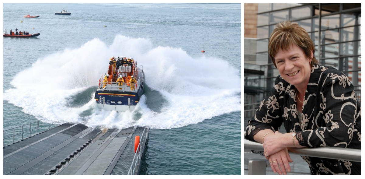 Joyce Watson AM is lobbying for fast, reliable internet to be delivered to the RNLI's lifeboat station in St Davids