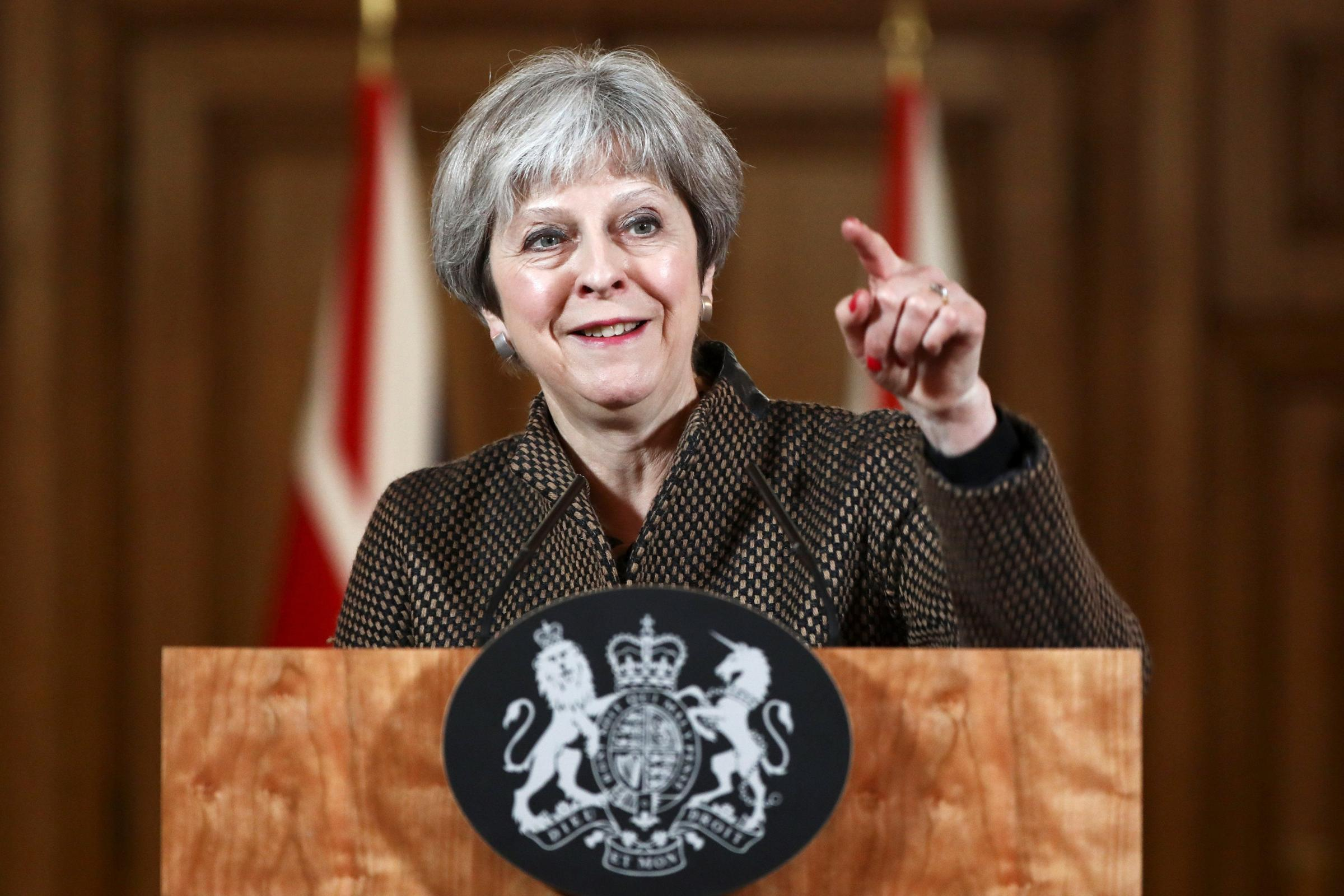 Prime Minister Theresa May during a press conference in 10 Downing Street on the air strikes against Syria (Simon Dawson/PA)