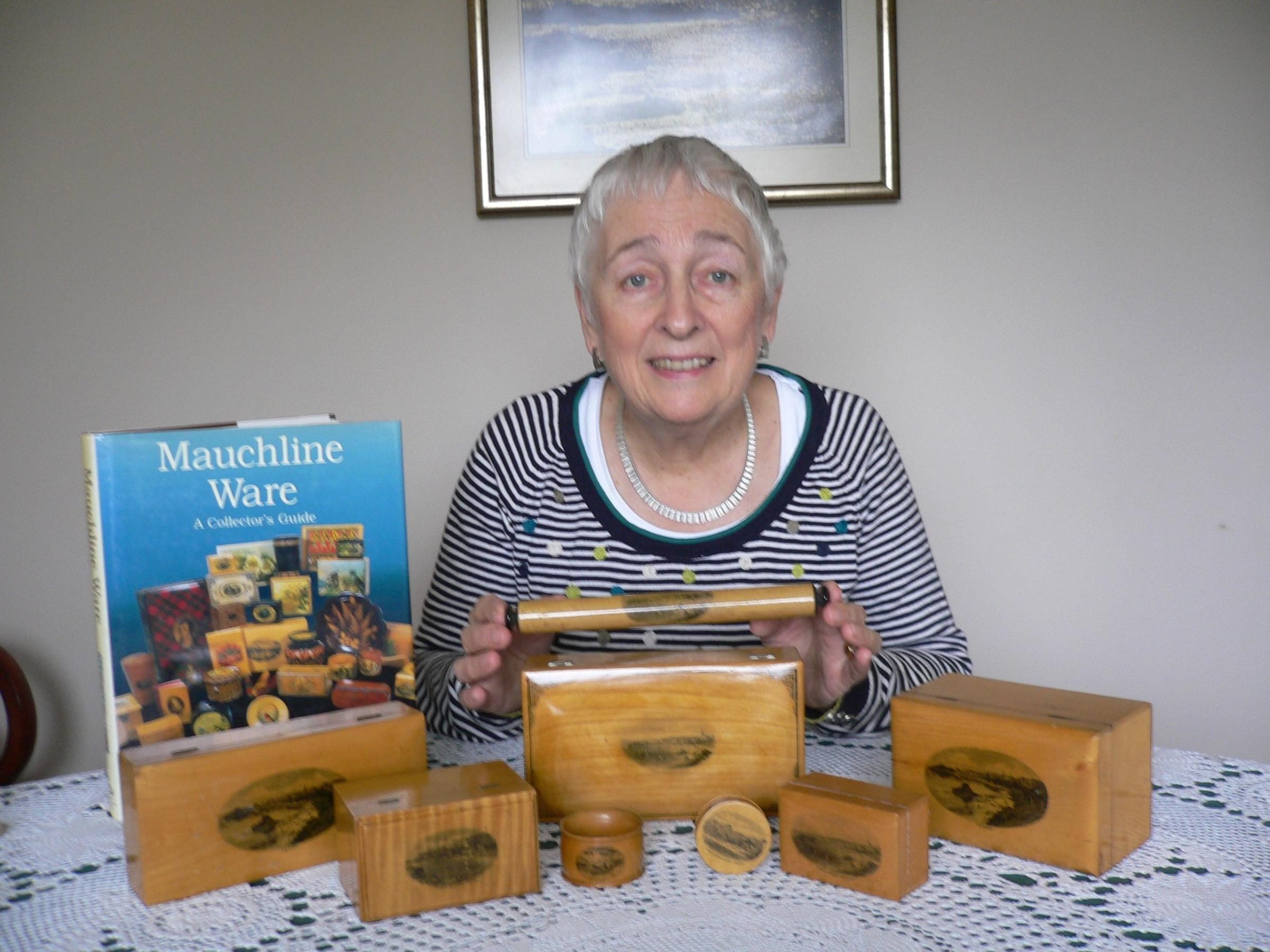 Erene Grieve, of Milford Haven, organiser of the 2018 Mauchline Ware Collectors Club Convention in Tenby, with some examples featuring scenes of Tenby.