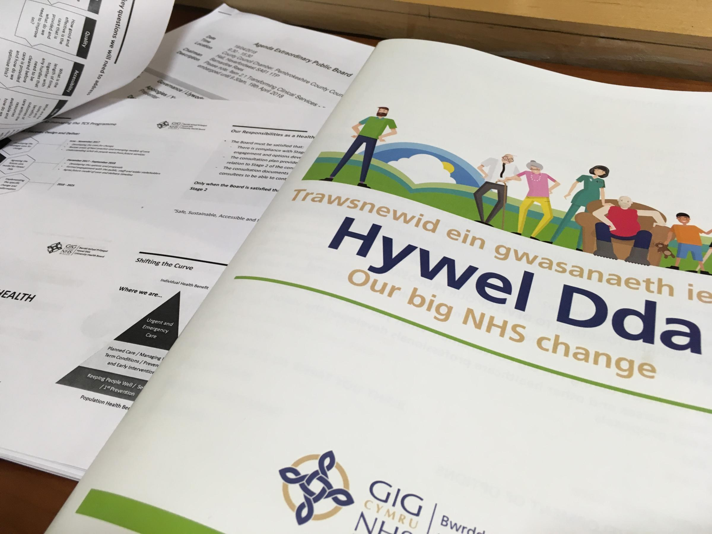 Hywel Dda University Health Board\'s proposals are now subject to public consultation.