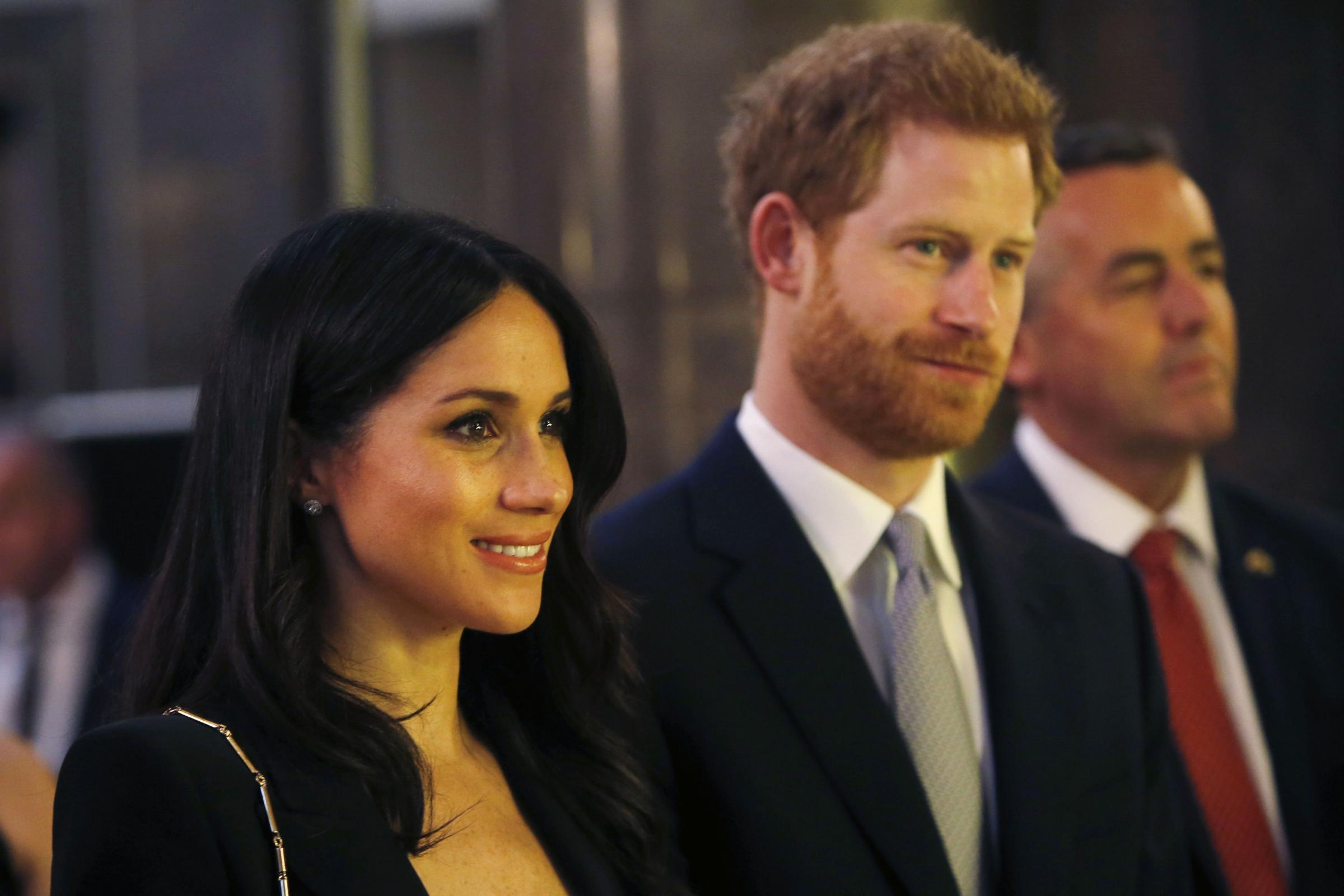 Prince Harry and Meghan Markle attend a reception hosted by Australian prime minister Malcolm Turnbull and his wife Lucy (Alastair Grant/PA)