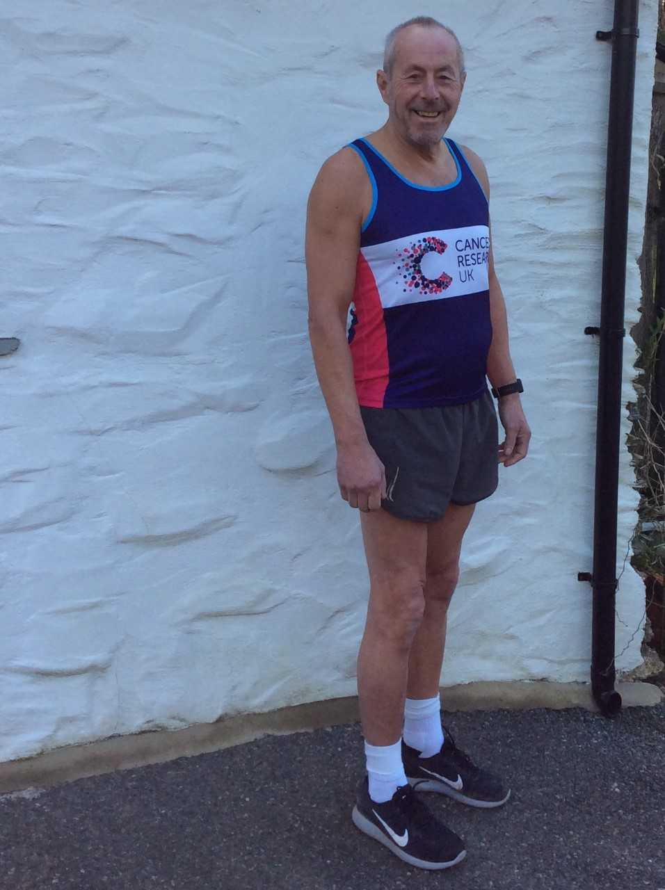 Newport mayor, John Edwards, is running in today's London Marathon to raise money for Cancer Research UK.