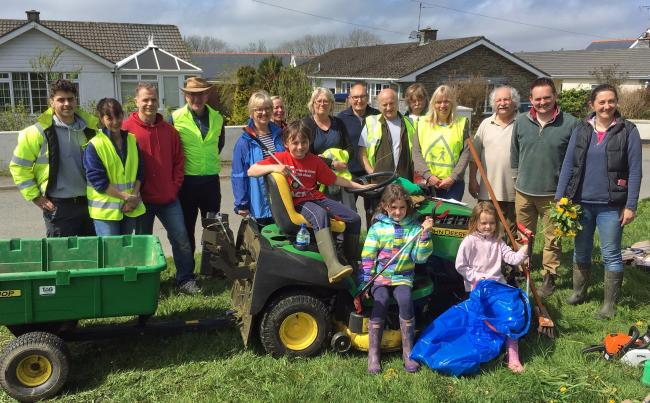 L:udchurch spring clean volunteers are pictured with the results of their community litter collection..