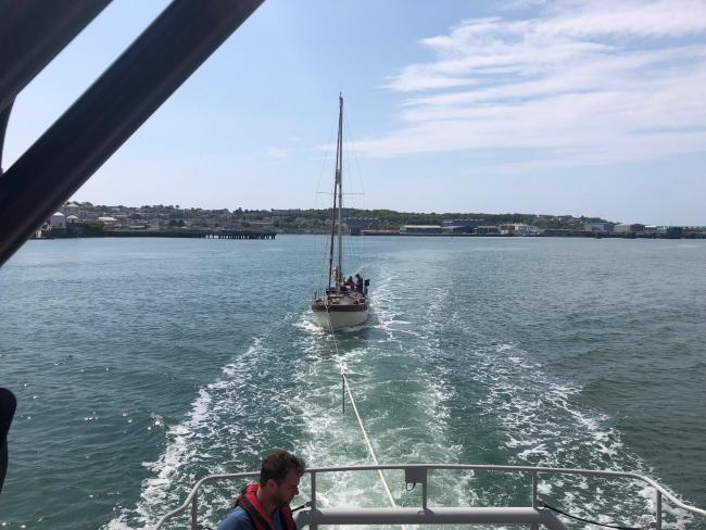 The view from Angle RNLI's Tamar class lifeboat on May 22 as the crippled yacht is towed towards Neyland. PICTURE: Angle RNLI.