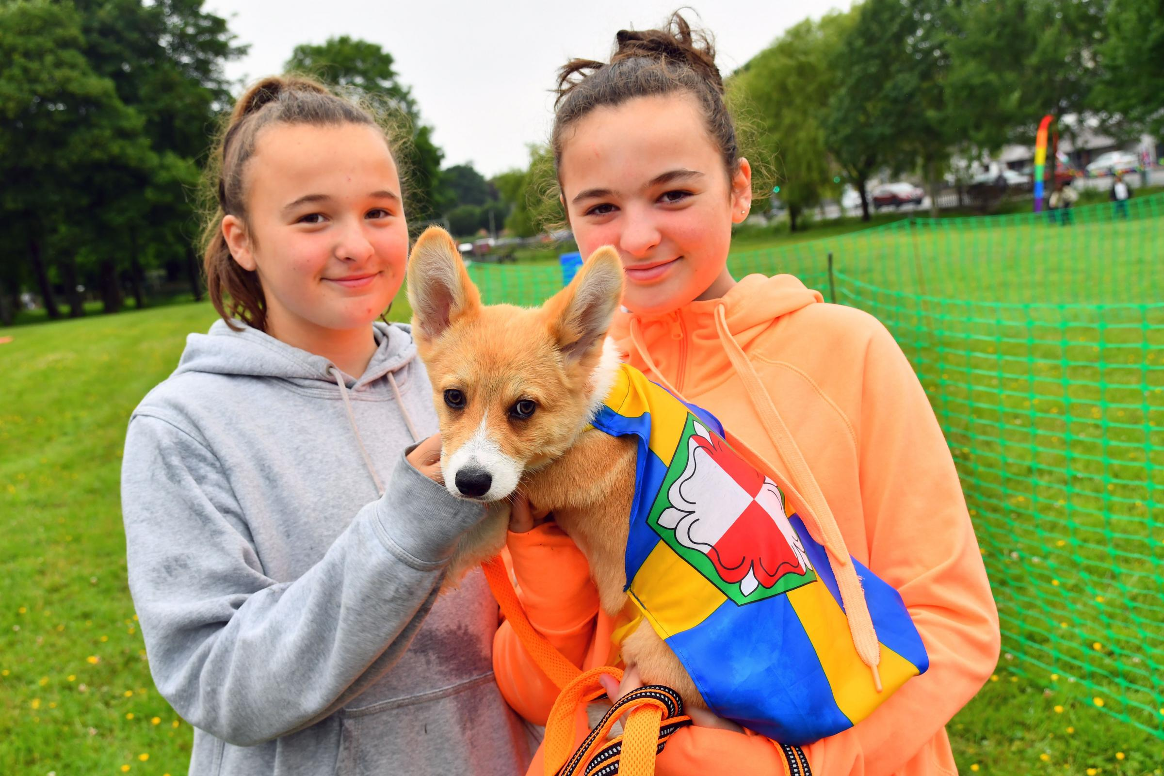 Bethan and Macey Dagger with puppy 'Snoot'. PICTURE: Martin Cavaney.