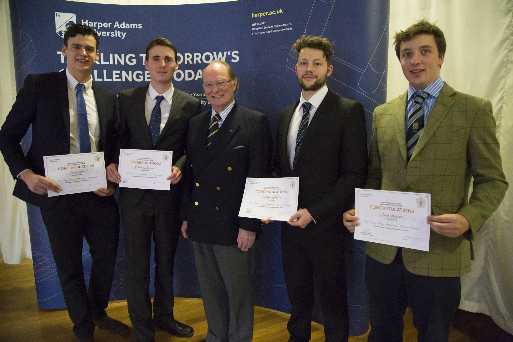 Dr Geoffery Davies MBE with James Neal, Thomas Evans, Joshua Kings and Jack Wyatt