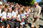 Prince Charles meets Llangwm's youngsters. PICTURE: Martin Cavaney.