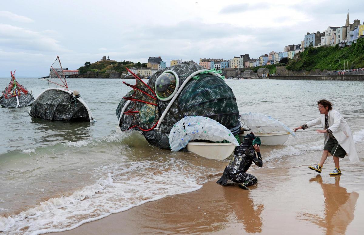 cragen small world theatre s sea monster puppet comes ashore at