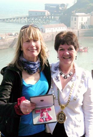 Rosie MBE: The proud adventurer and Tenby mayor Sue Lane are pictured with the medal.