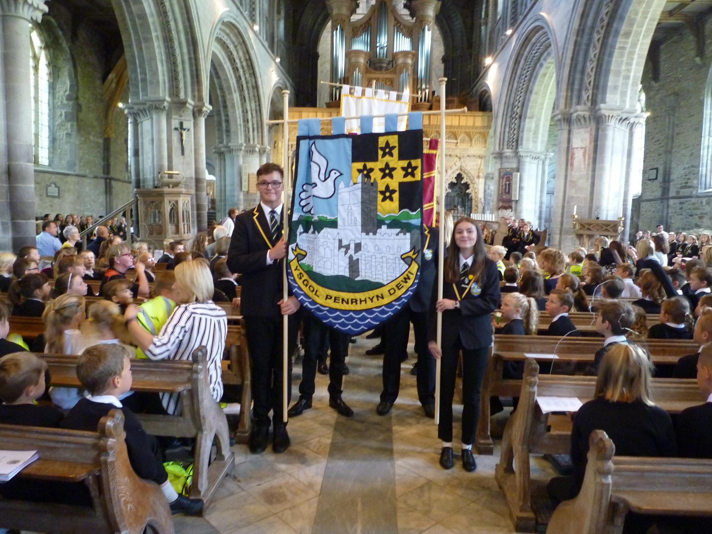 St Davids pupils met for the first whole school assembly in the cathedral on Friday. PICTURE: Western Telegraph