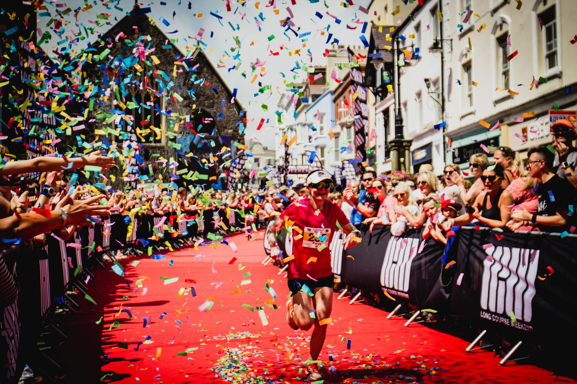 The red carpet finish in Tenby's Tudor Square is a legendary feature of the Long Course Weekend.
