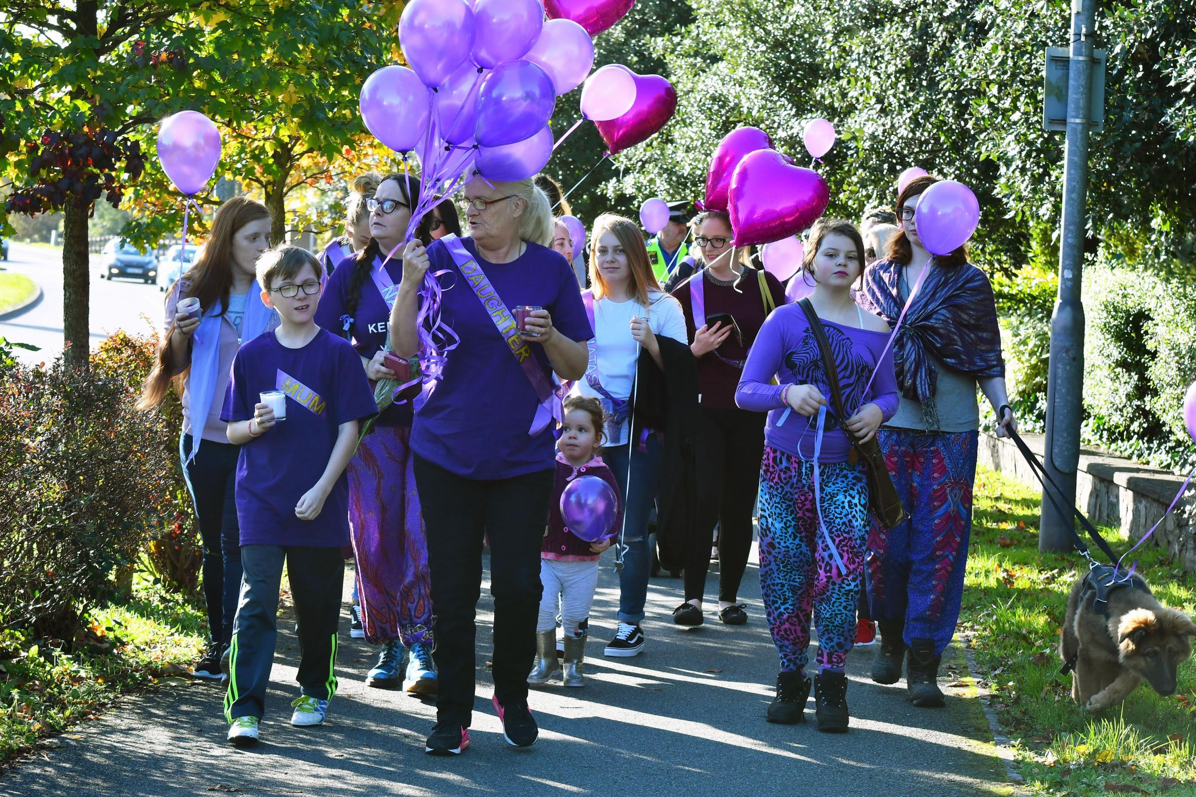 Haverfordwest High Street a sea of purple in memory of murder victim Natasha Bradbury