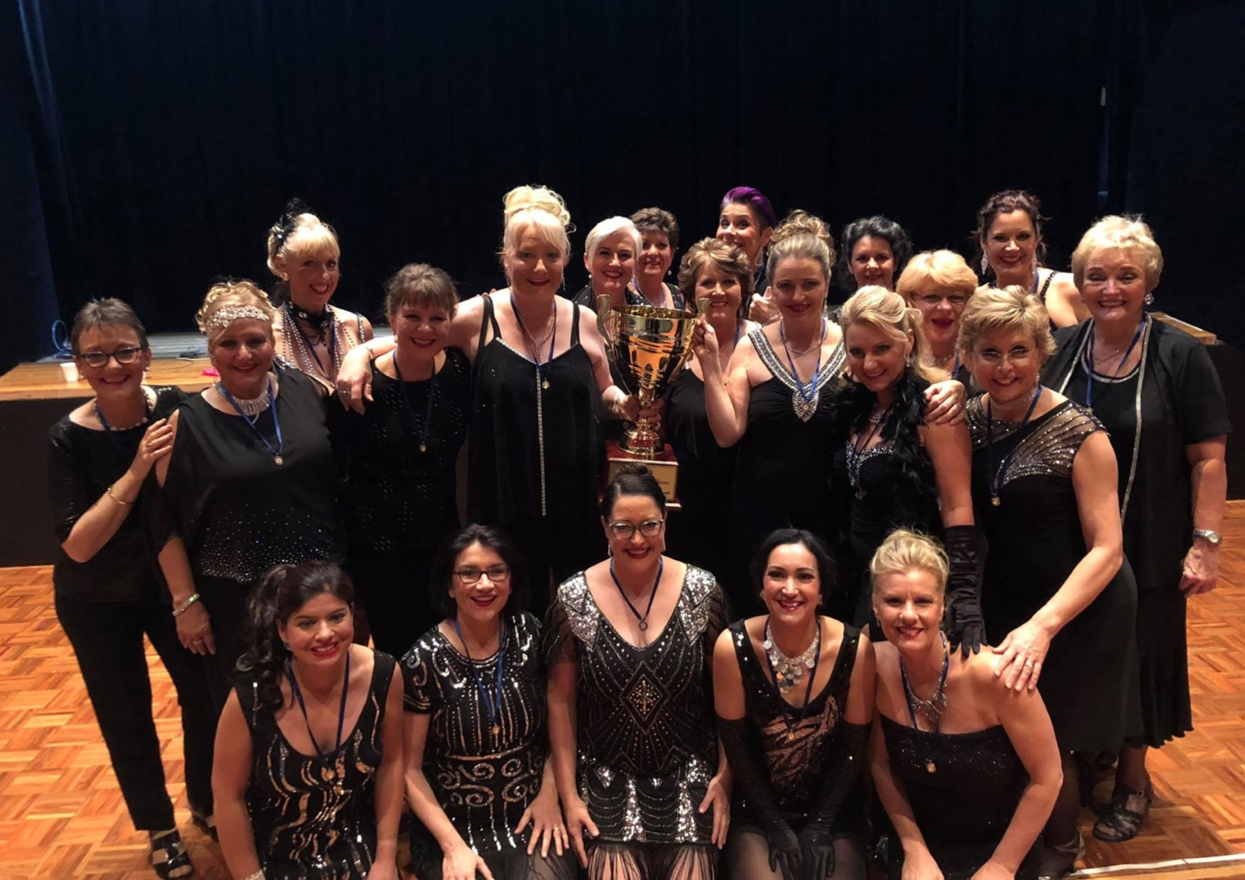 Liz Whitelaw (front row, second from left) with A Capella West, soon to represent Australia in New Orleans.
