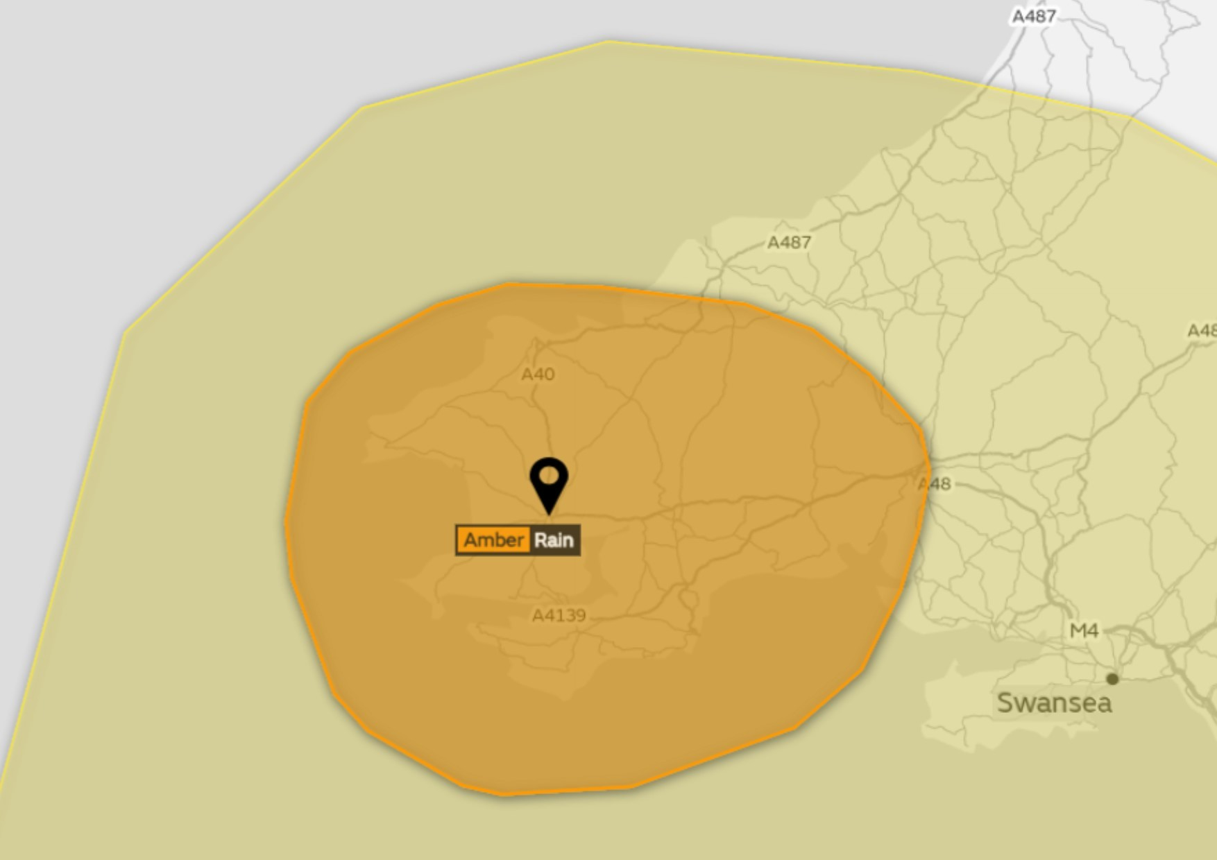There is an amber weather warning in place for this afternoon. PICTURE: Met Office.