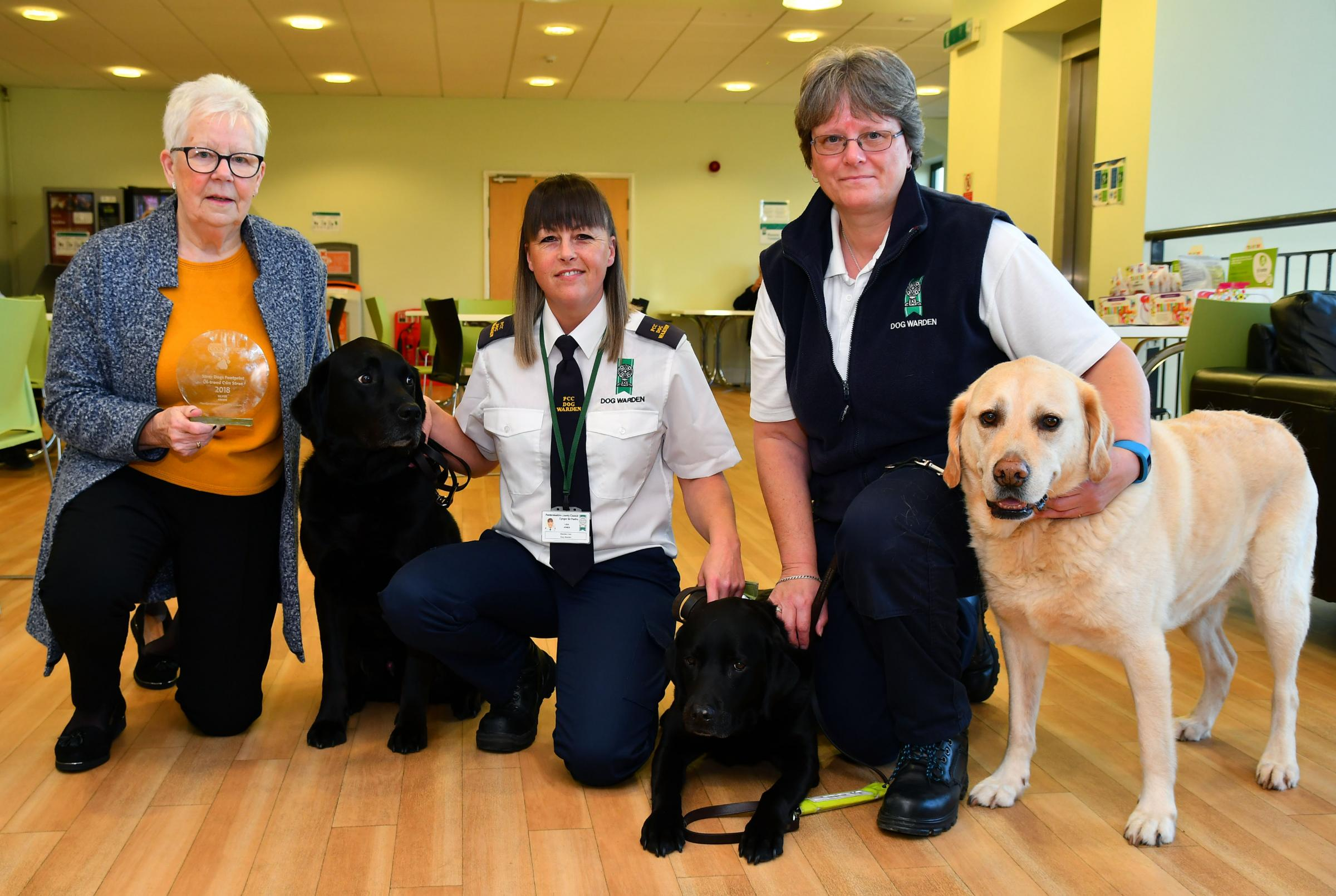 Pictured with the RSPCA award is Cllr Pat Davies and Pembrokeshire County Council dog wardens Sally Bland and Lisa Jones.