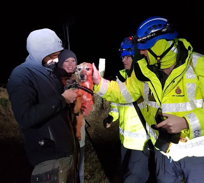 The rescue of the little dog from Ynys Fach. PICTURE: St Davids Coastguard Rescue Team.