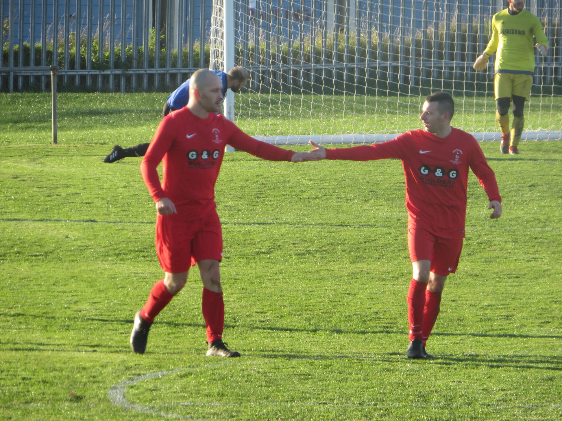 Ben Adams (right) was on the scoresheet again for Pennar.