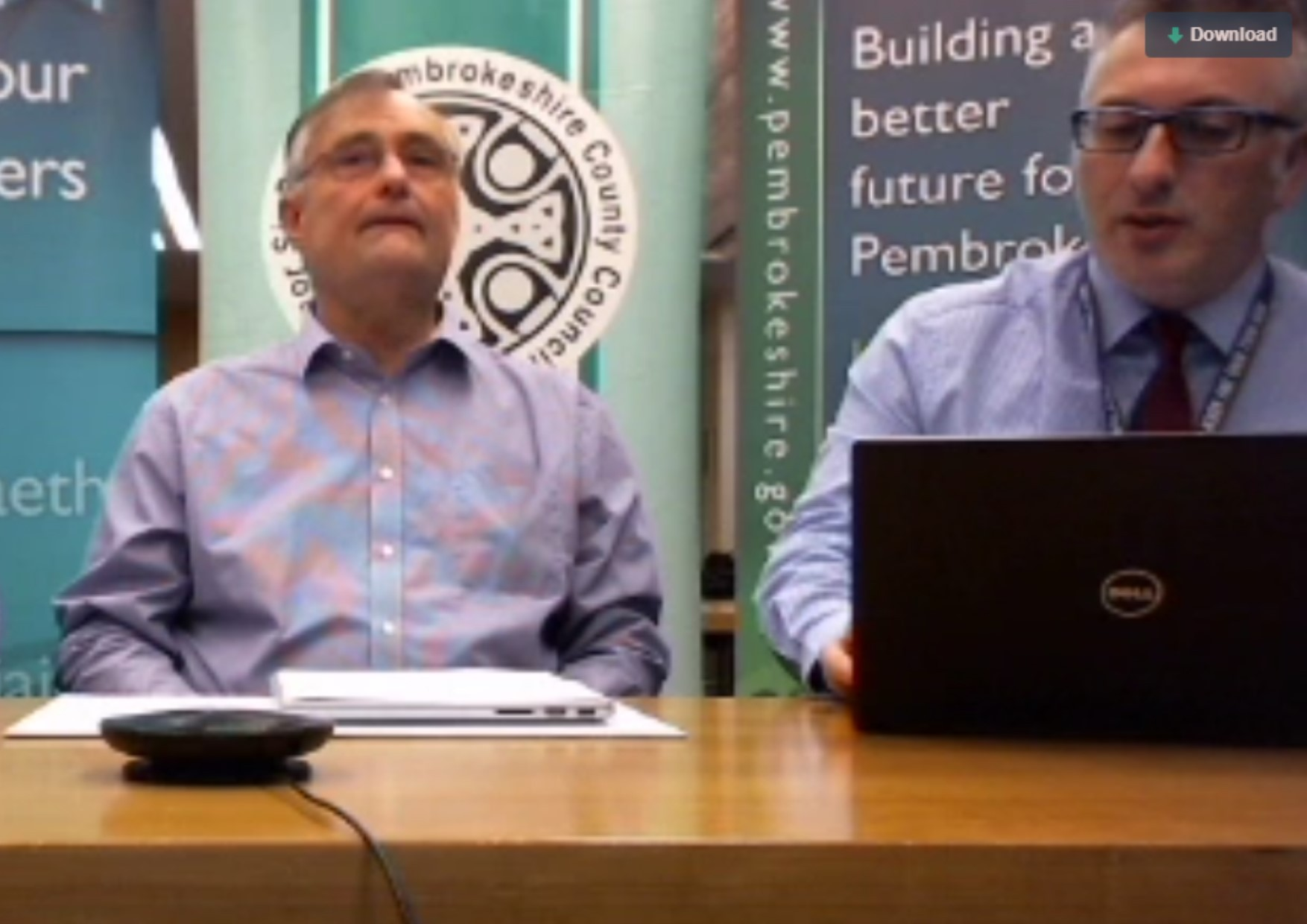 Cllr Bob Kilmister (left) answered questions from the public about the budget for 2019-20.