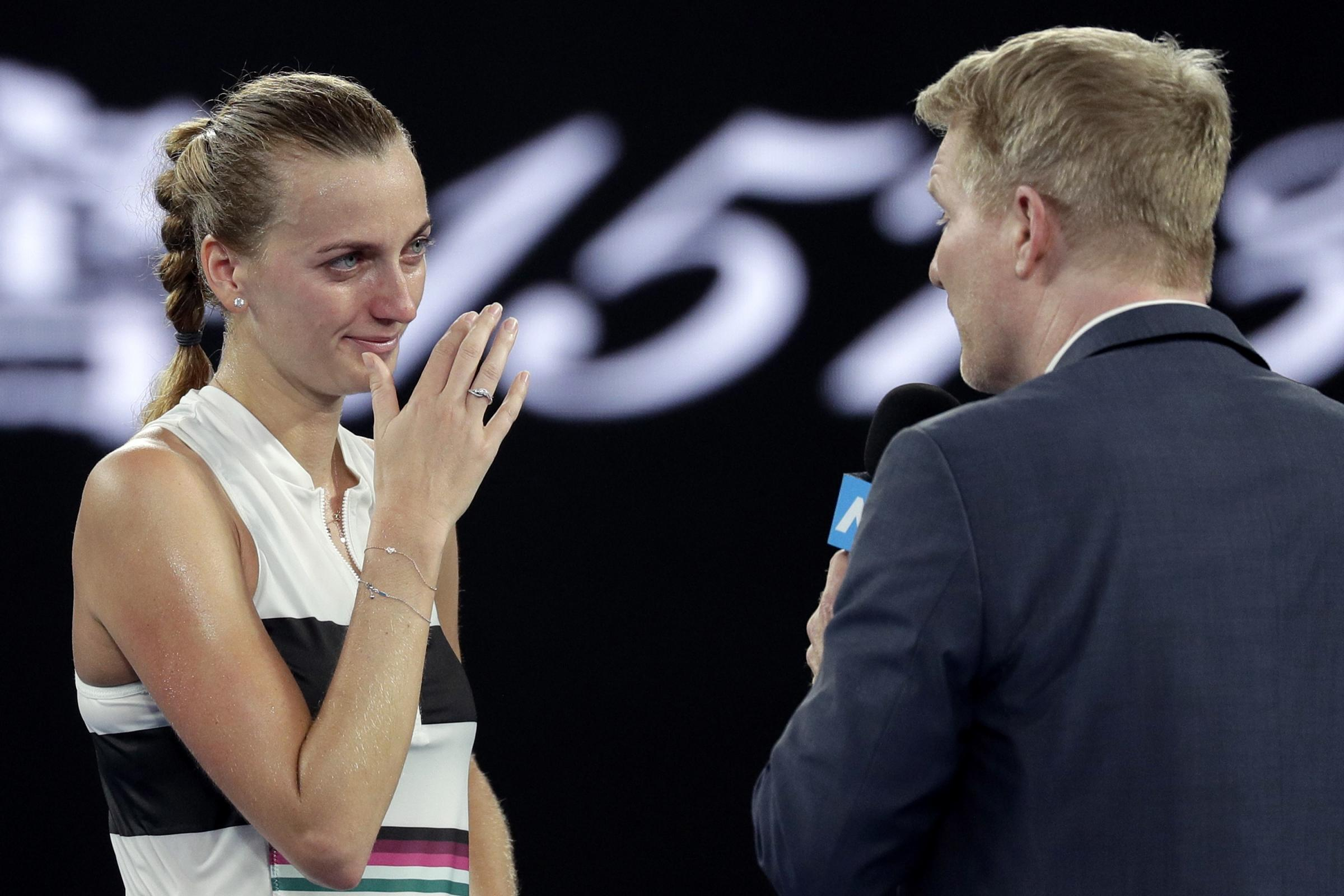 Petra Kvitova became emotional during her on-court interview with Jim Courier