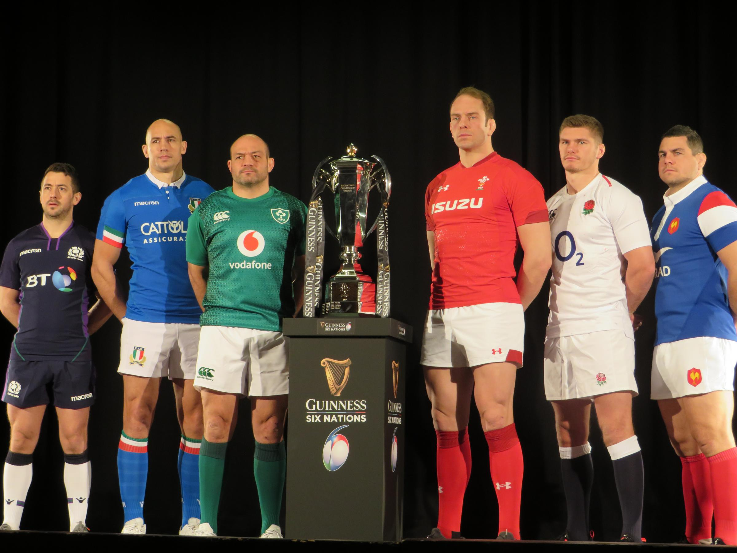 All six captains pose with the Six Nations trophy. PICTURE: Western Telegraph.