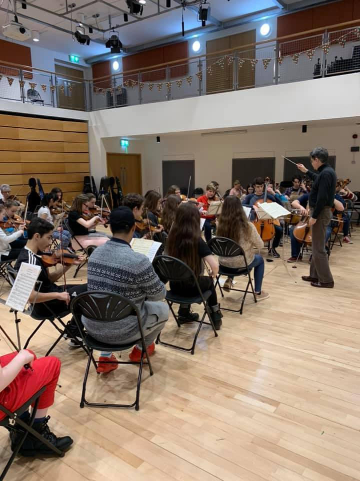 Rehearsals with a Pembrokeshire Music Service orchestra. PICTURE: PMS Facebook