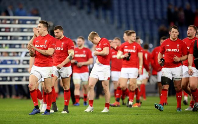 FRUSTRATED: Wales trudge off after an underwhelming win in Rome
