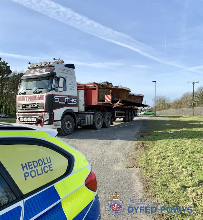 Moving heavy parts of the former Murco refinery could result in traffic delays this week. PICTURE: Pembrokeshire Roads Policing Unit.