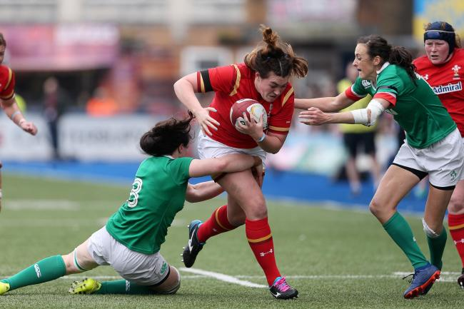 CHALLENGE: Newport's Cerys Hale, pictured on the charge for Wales, plays in the front row for Gloucester-Hartpury