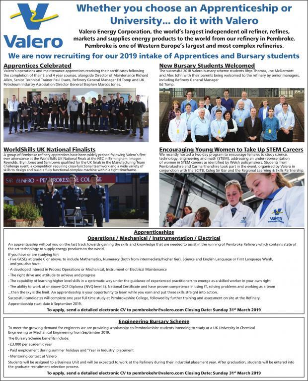 Valero Pembroke Refinery recruits 2019 apprentices and