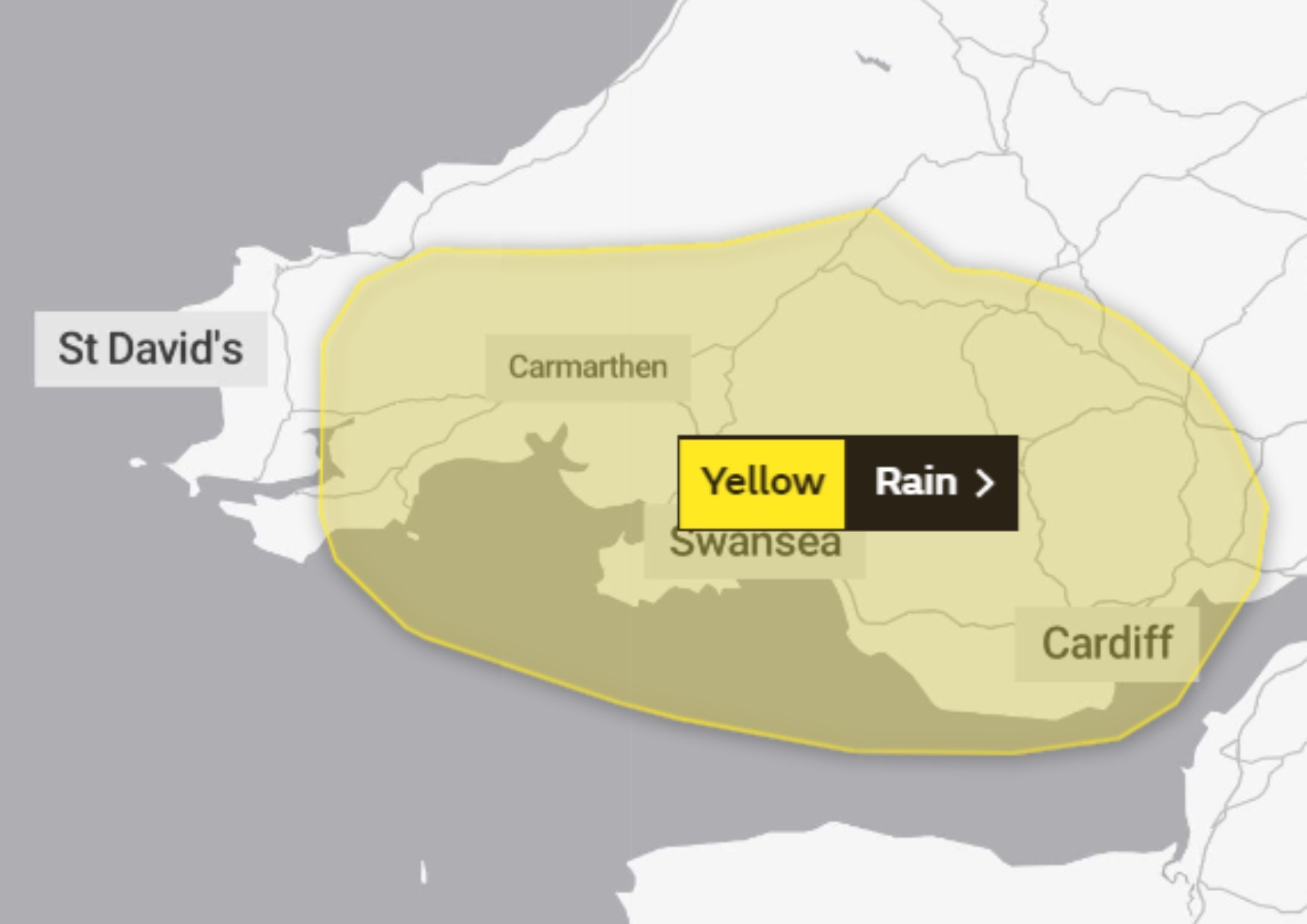 Pembrokeshire could see heavy rain and winds tonight