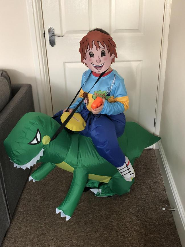 Jenson Richards, age 5. Lives in st clears and goes to tavernspite school. Dressed as horrid Henry and the day of the dinosaur
