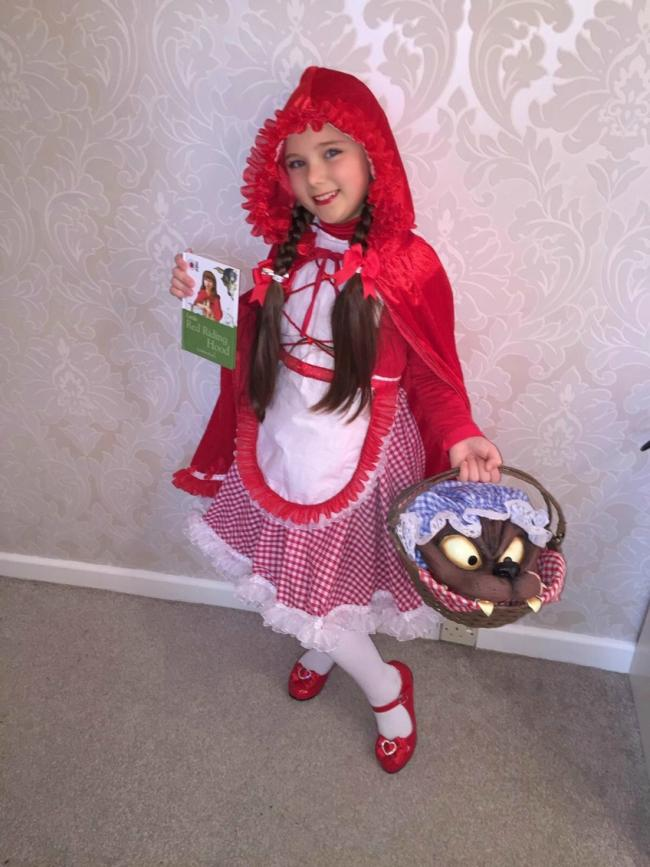 Delilah Rogers age 7 as little red riding hood. Home made head to toe by Delilah and her mum and Delilah designed the costume all by herself!