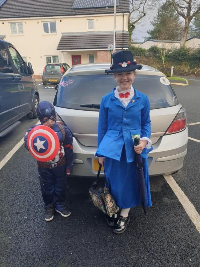 Sammy Griffiths-Harris  4yrs old as Captain America and Suzanna Griffiths-Harris 10yrs old as Mary Poppins from Saundersfoot
