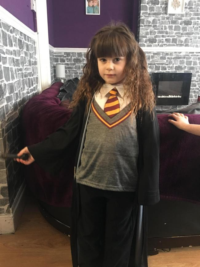Fleur Davies aged 4 from Pembroke as Tinkerbell  Layla Davies aged 5 from Pembroke as Hermione Granger