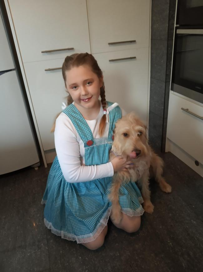 Eden Phillips and Mabel. Saundersfoot dressed as Dorothy Gale and Toto !