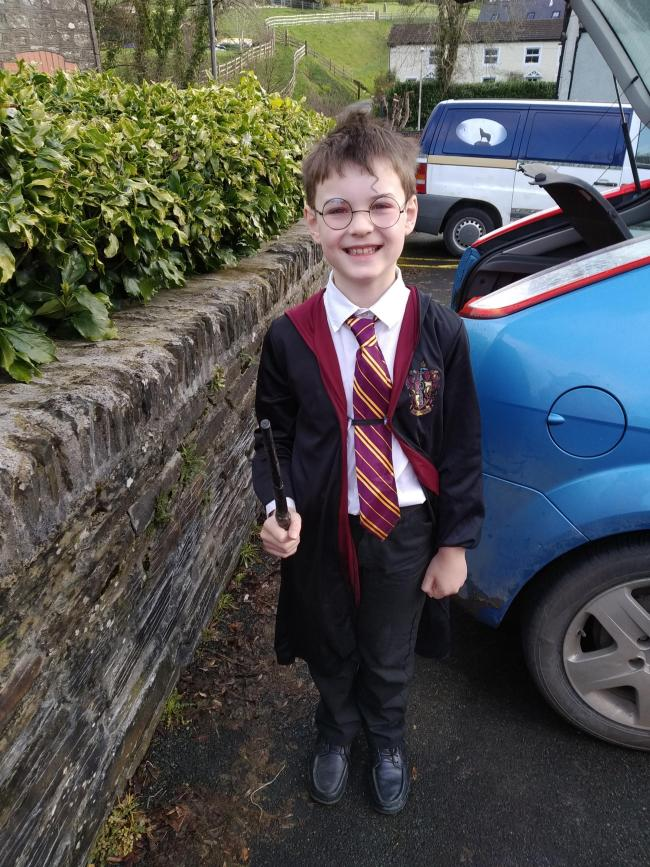 Sebastian age 8 from crosswell went to ysgol eglwyswrw today dressed as Harry potter