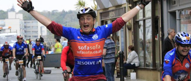 Celebrating in Tenby at the end of a previous Carten100 cycle ride. PICTURE:Antony Lantzos