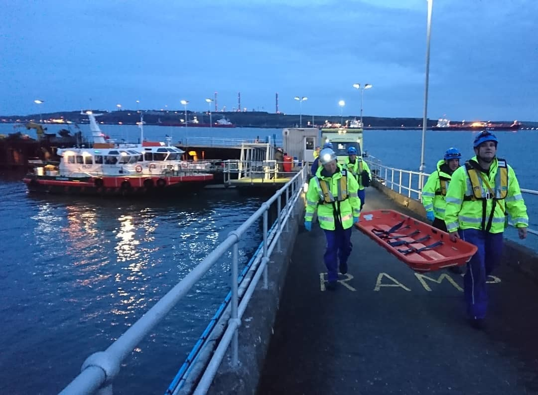 Emergency services at Milford Haven Port authority's jetty. PICTURE: H M Coastguard Dale.