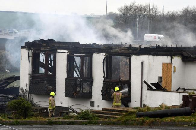 The fire-ravaged former Cleddau Bridge Hotel. PICTURE: Martin Cavaney.