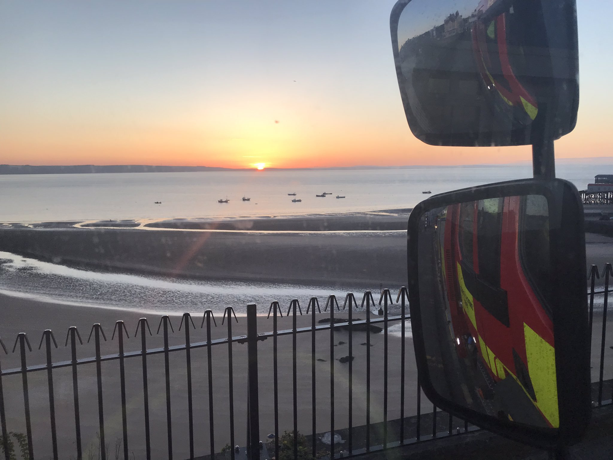 Firefighters returned back to the station as the sun rose. PICTURE: Tenby Fire Station via Twitter.