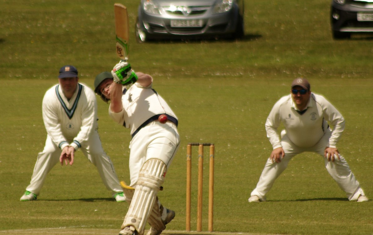 Llangwm opener James Venables hits out. PICTURE: Western Telegraph.