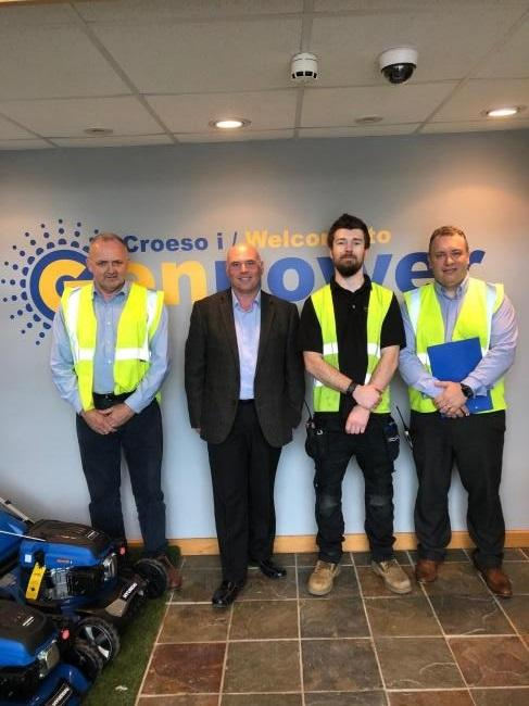Pictured, from left: Roland Llewellin (managing director), Paul Davies AM, Myles Bamford Lewis (retail store manager), and Jason Tomlin (operations director).